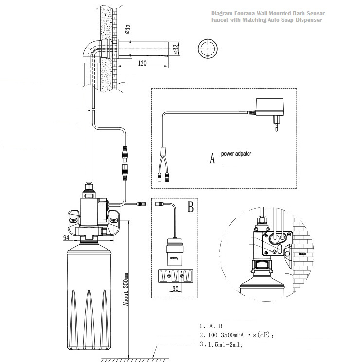 Installation instructions for wall mounted bath sensor faucet for Faucet soap dispenser placement