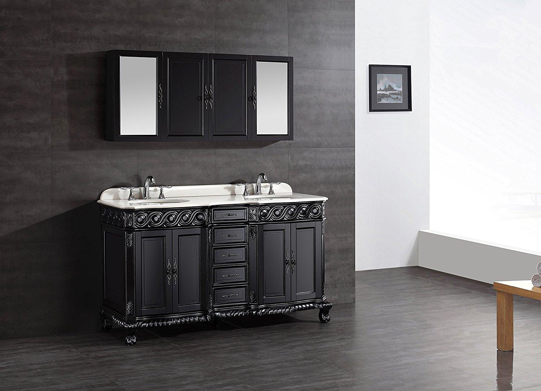 Shop Genoa 60 Inch Antique Black Vanity With Marble Vanity Top Sink At Bathselect