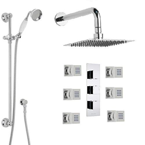 Genoa Square Bathroom Shower Set With Rainfall Head Hand