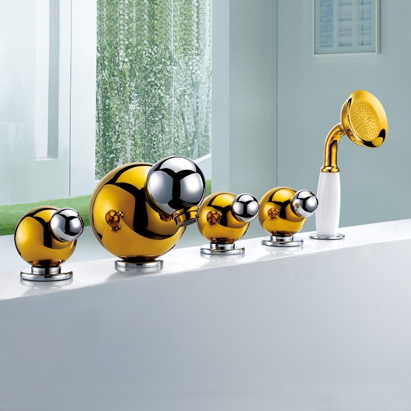 Giaddini Gold Finish Bathtub Faucet and Handheld Shower Set