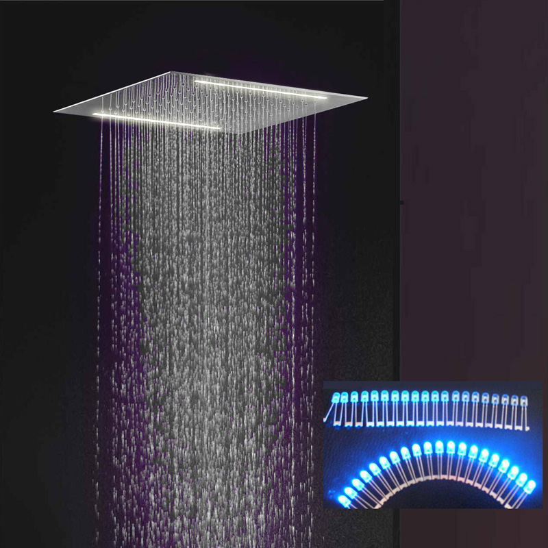 "20"" Recessed Stainless Steel Electric Rainfall Shower"
