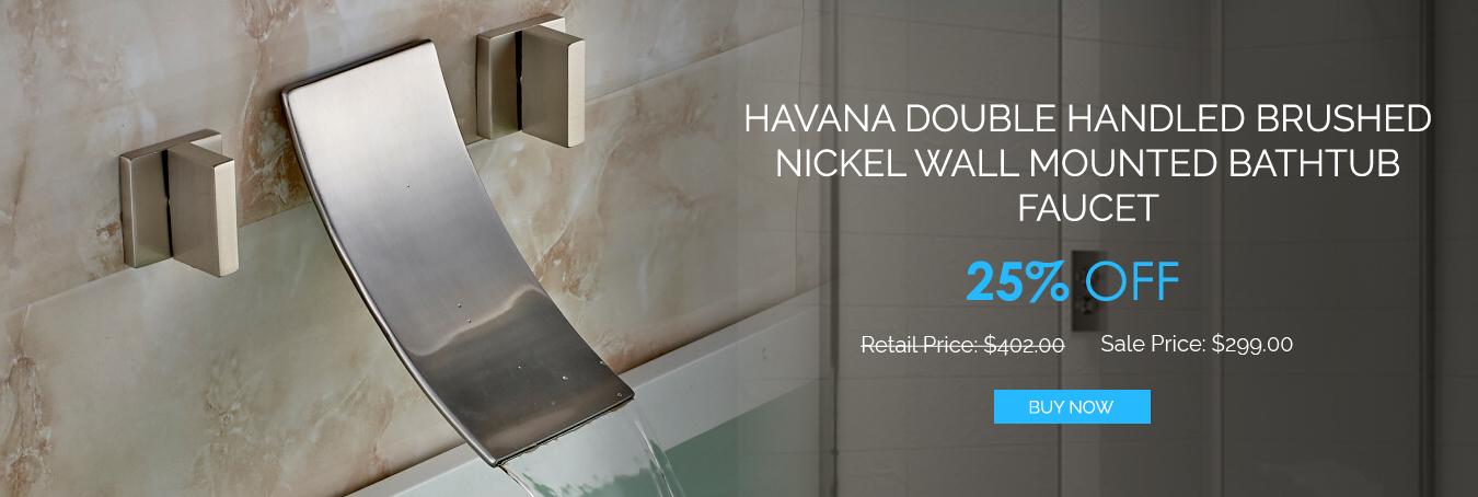 Havana Double Handled Brushed Nickel Wall Mount Bathtub Faucet