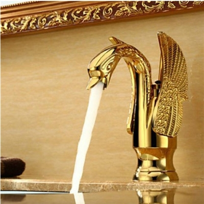 Hooper Gold Finish Bathroom Sink Faucet