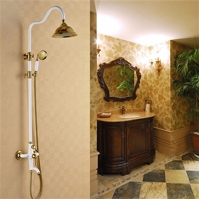 Khloe Antique Brass Wall Mount Rain Shower Head And Handheld Shower