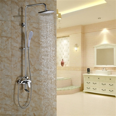 Khloe Wall Mount 8 Inch Rain Shower Head And Handheld Shower with Faucet