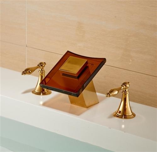 LED Color Glass Spout Bathroom Sink Faucet Widespread Mixer Tap Gold Finish
