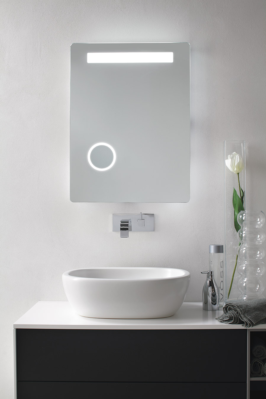Buy Led Lighted Bathroom Makeup Mirror With Magnifier & Sensor Touch ...