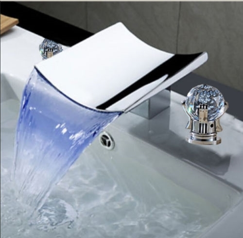 LED Luxury Waterfall Bathroom Widespread Faucet Crystal Handle Sink Mixer Tap