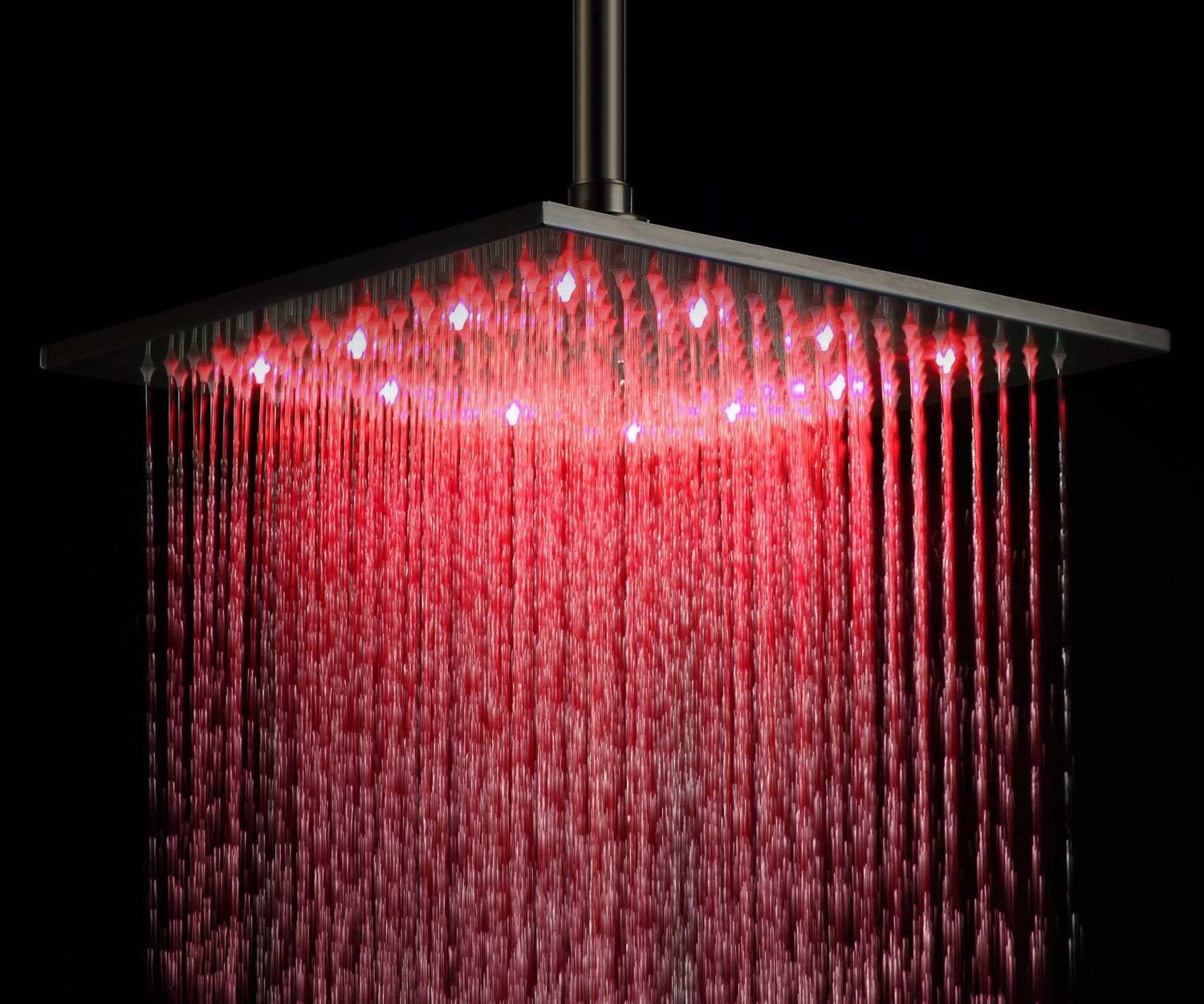 "BathSelect 16"" Oil Rubbed Bronze Square Color Changing LED Rain Shower Head"
