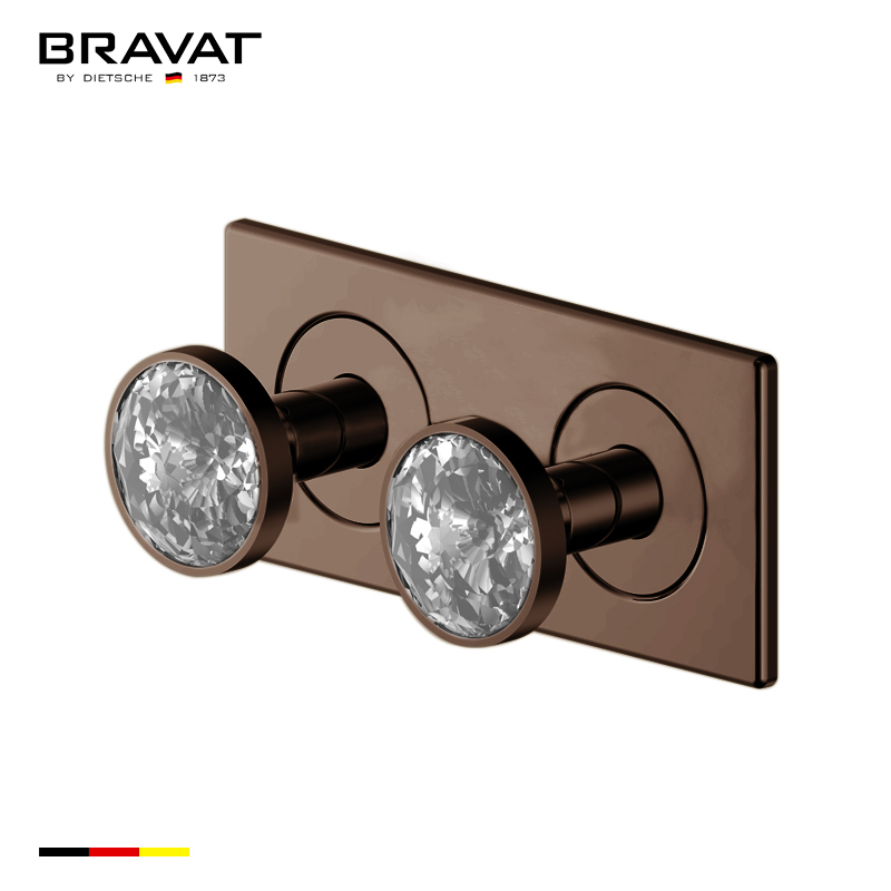 Bravat Wall Mount Two Crystal Handle Thermostatic Bathroom Shower Mixer In Light Oil Rubbed Bronze Finish
