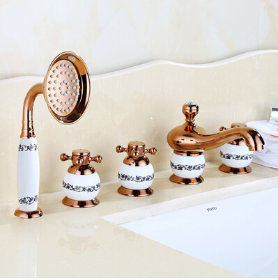 Saint-Denis 5 Piece Deck Mounted Bathtub Faucet