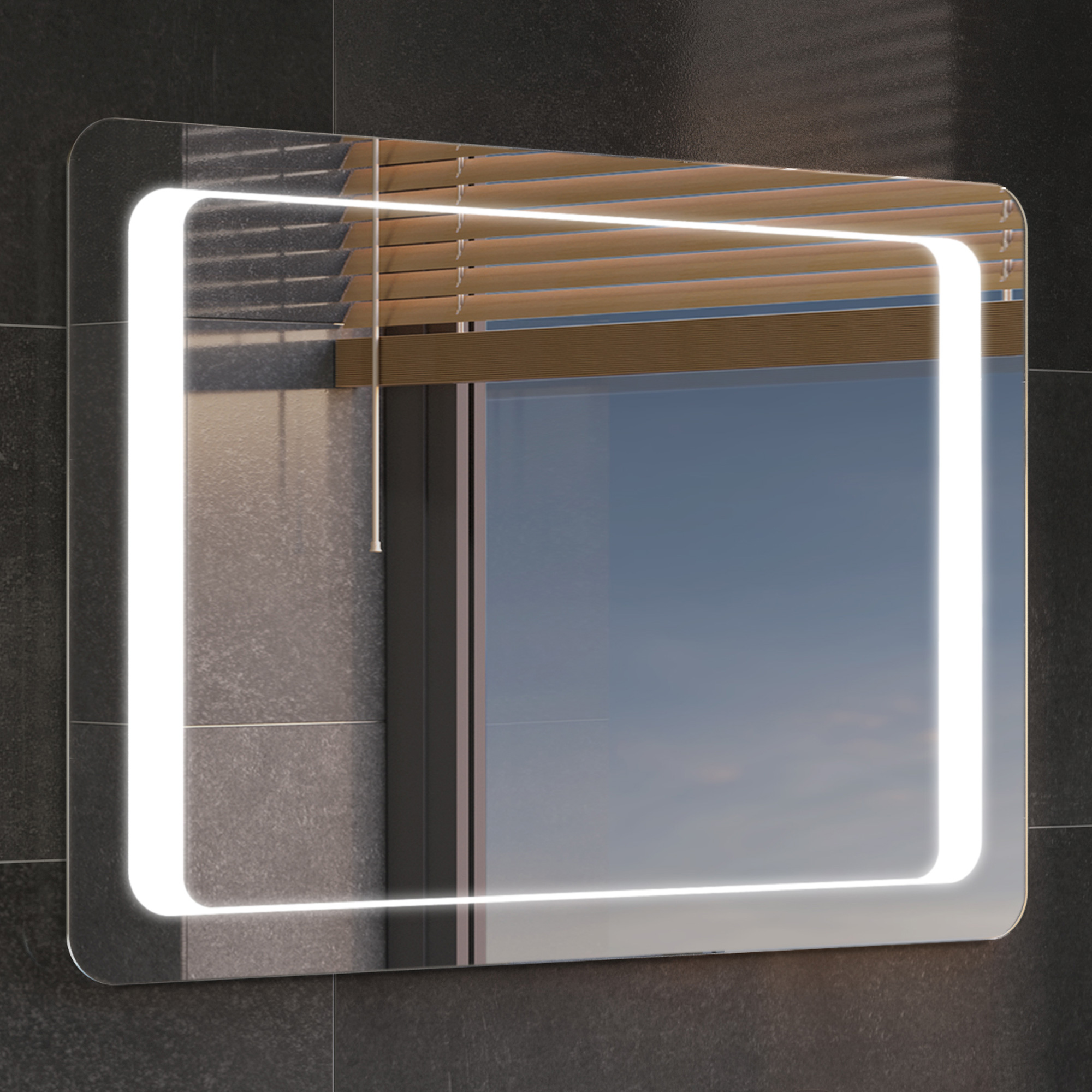 Large Rectangular Led Light Bathroom Makeup Mirror With Defogger Touch Switch
