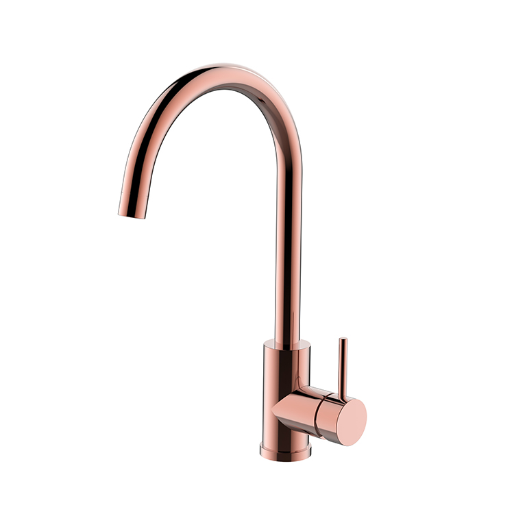 Leo Goose Neck Deck Mount Single Handle Faucet In Rose Gold Finish