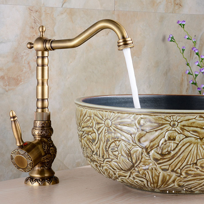 Shop Lucanian Antique Brass Bathroom Sink Faucet At Bathselect