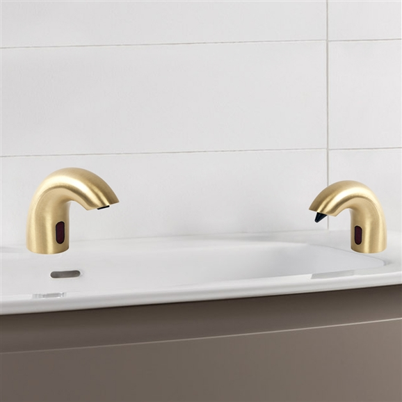 Luna Solid Brass Brushed Gold Finish Deck Mount Dual Automatic Commercial Sensor Faucet And Soap Dispenser