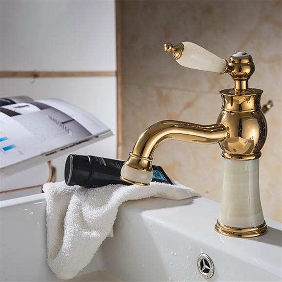 Luxury Gold-Plate Sink Faucet Single Jade Handle Centerset Mixer Tap