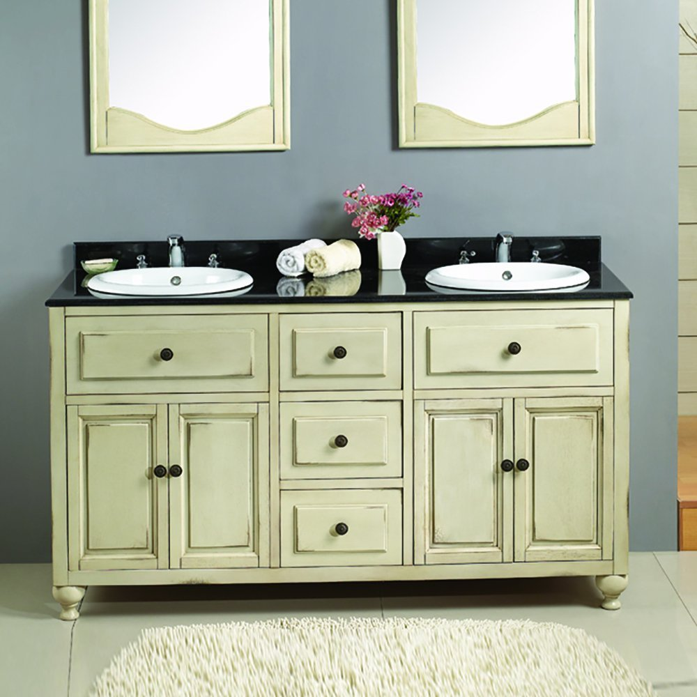 Lyon Antique White Double Vanity with Granite top & Sink - Shop Lyon Antique White Double Vanity With Granite Top & Sink At