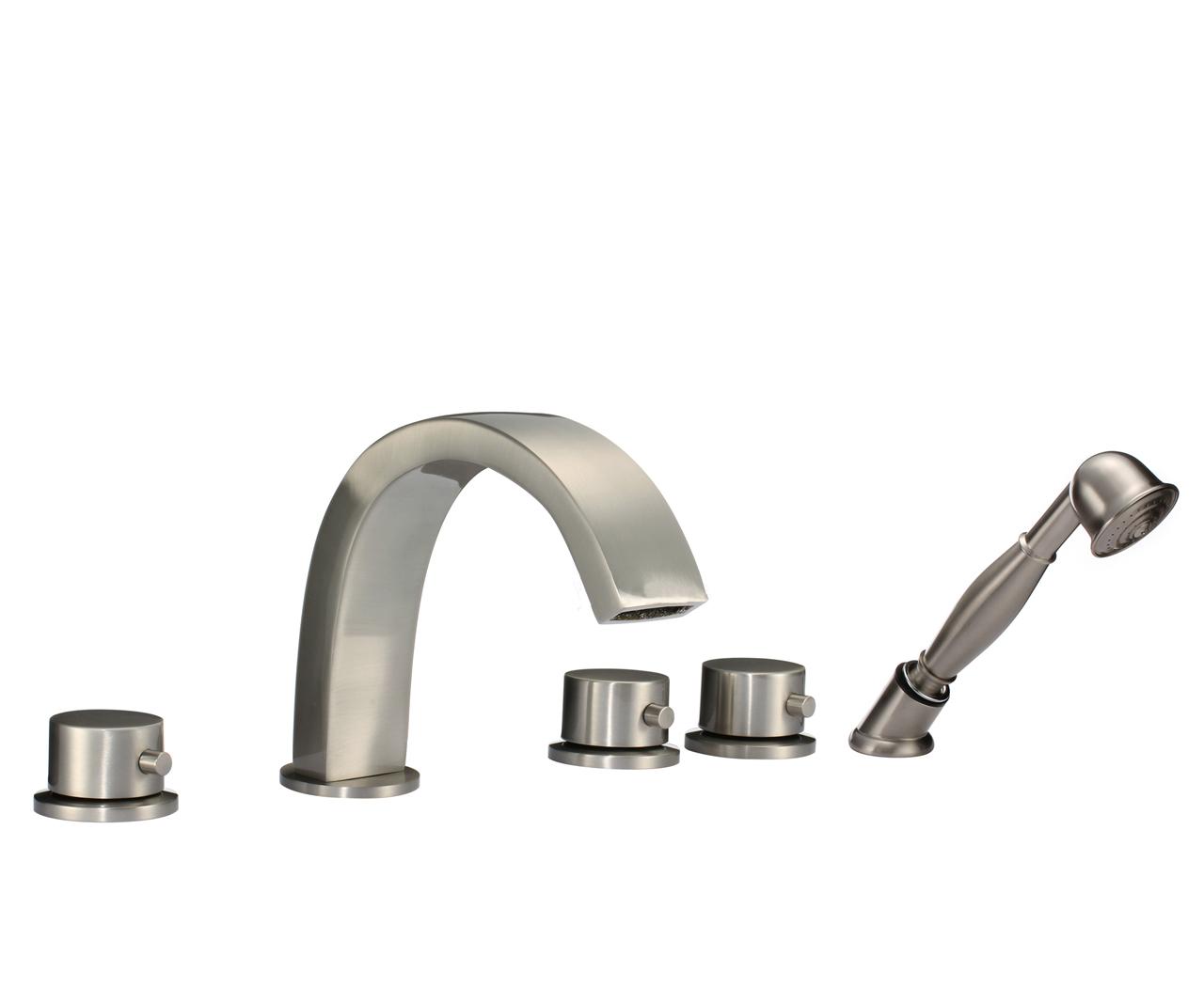 Shop Lyon Triple Handle Solid Brass Bathroom Sink Faucet At Bathselect