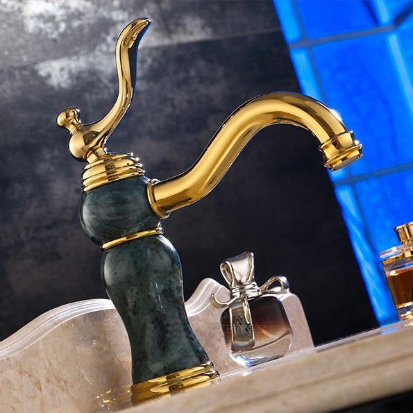Malta Single Handle Gold Marble Finish Bathroom Sink Faucet