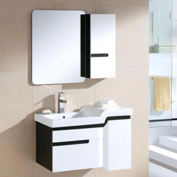 Buy Miami Wall Mount Bathroom Vanity In Black And White Design With Ceramic Sink And Mirror
