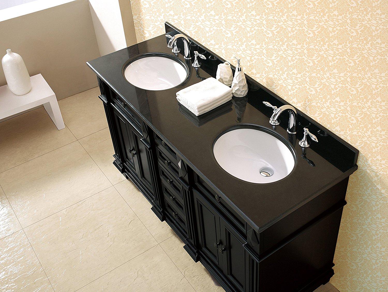 Milan Bathroom Vanity Set with Black Granite Vanity Top & White Basin