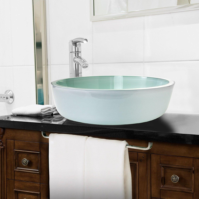 Shop Milan Tempered Glass Vessel Bathroom Sink At Bathselect