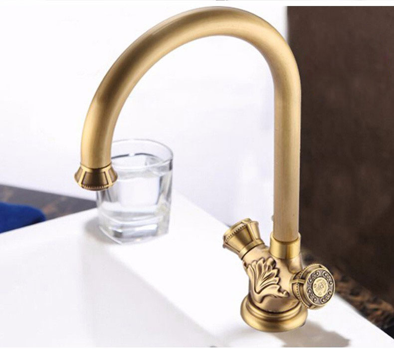 Shop Naples Antique Brass Dual Handle Bathroom Faucet At Bathselect