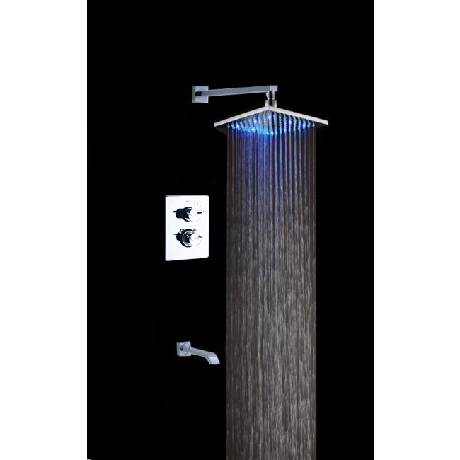 Naples Wall Mount Square LED Shower Head with Shower Diverter & Tub Spout