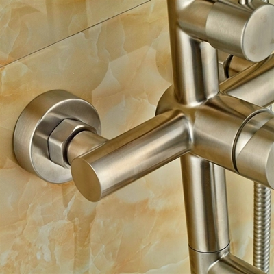 Naples Wall Mount Brushed Nickel Shower Set with Hand Shower