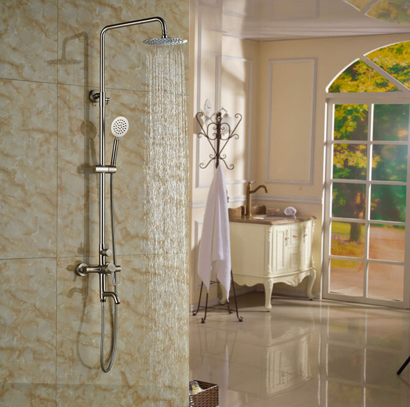 Shop Naples Wall Mounted Brushed Nickel Shower Set With Hand Shower ...