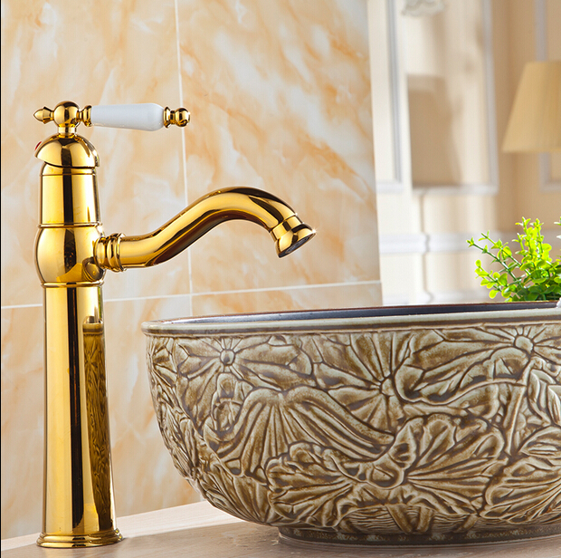Naxos Gold Finish Bathroom Sink Faucet with Hot & Cold Water Mixer