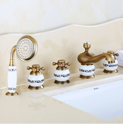 La Rochelle 5 Piece Deck Mounted Bathtub Faucet