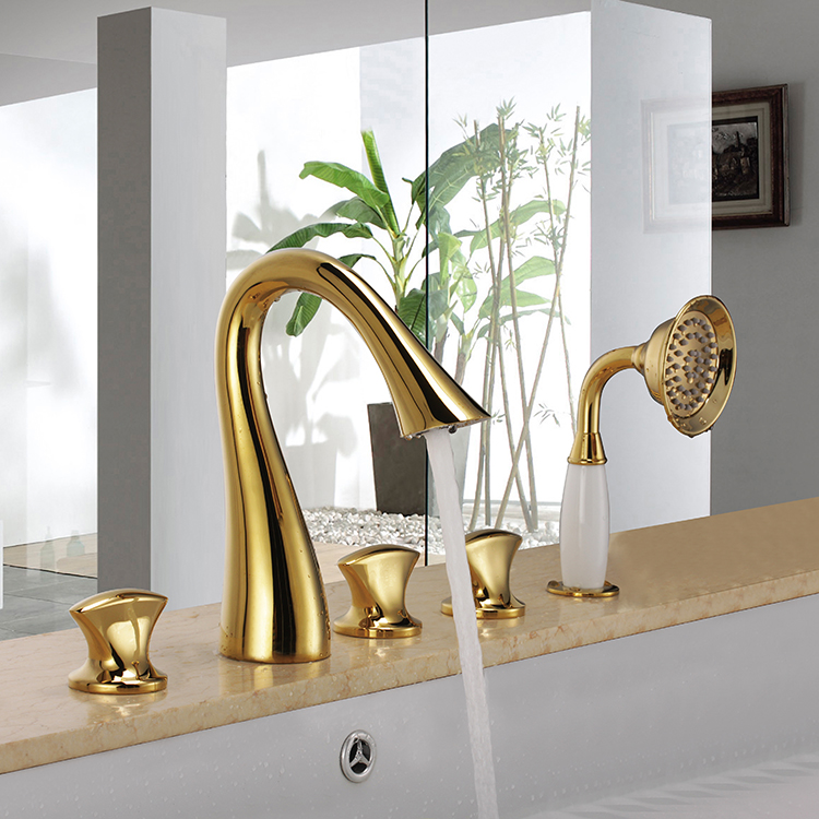 Nysa Gold Finish Deck Mounted Bath Tub Faucet with Hand Held Shower