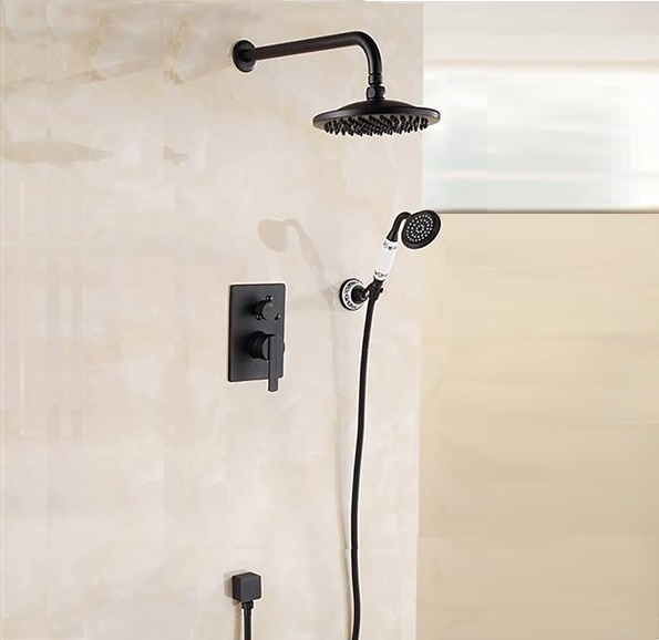 """Bathselect Round Oil-Rubbed Bronze 8"""" Rainfall Wall Shower Head with Hand-Held Shower"""