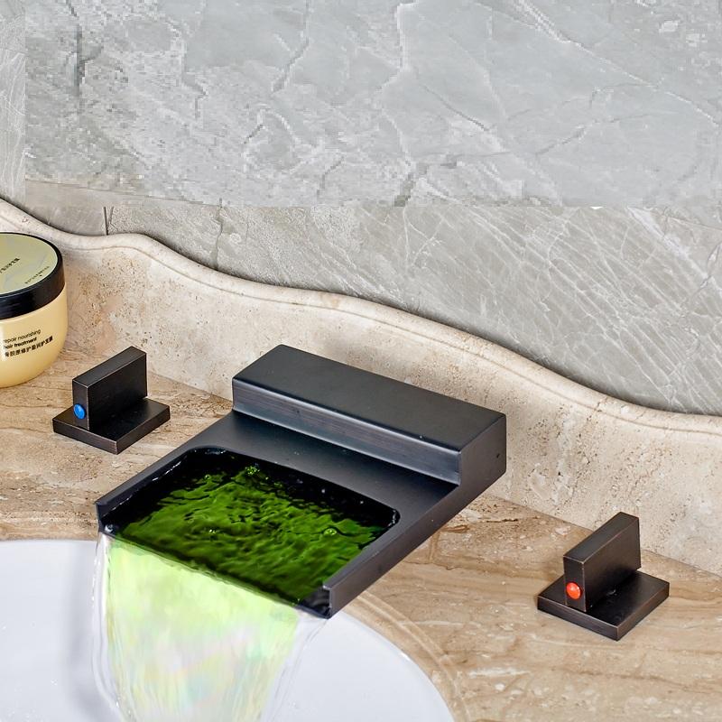 Ottawa Waterfall LED Bathroom Sink Faucet Long Handle