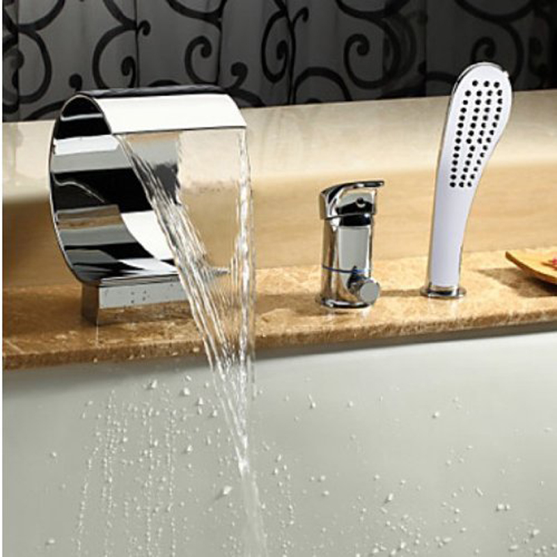 Penne Single Handle Chrome Waterfall Sink Bathtub Faucet With Handheld Shower