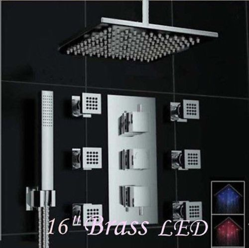 "Perugia 16"" Ceiling Mount LED Shower Head with Body Massage Jets"