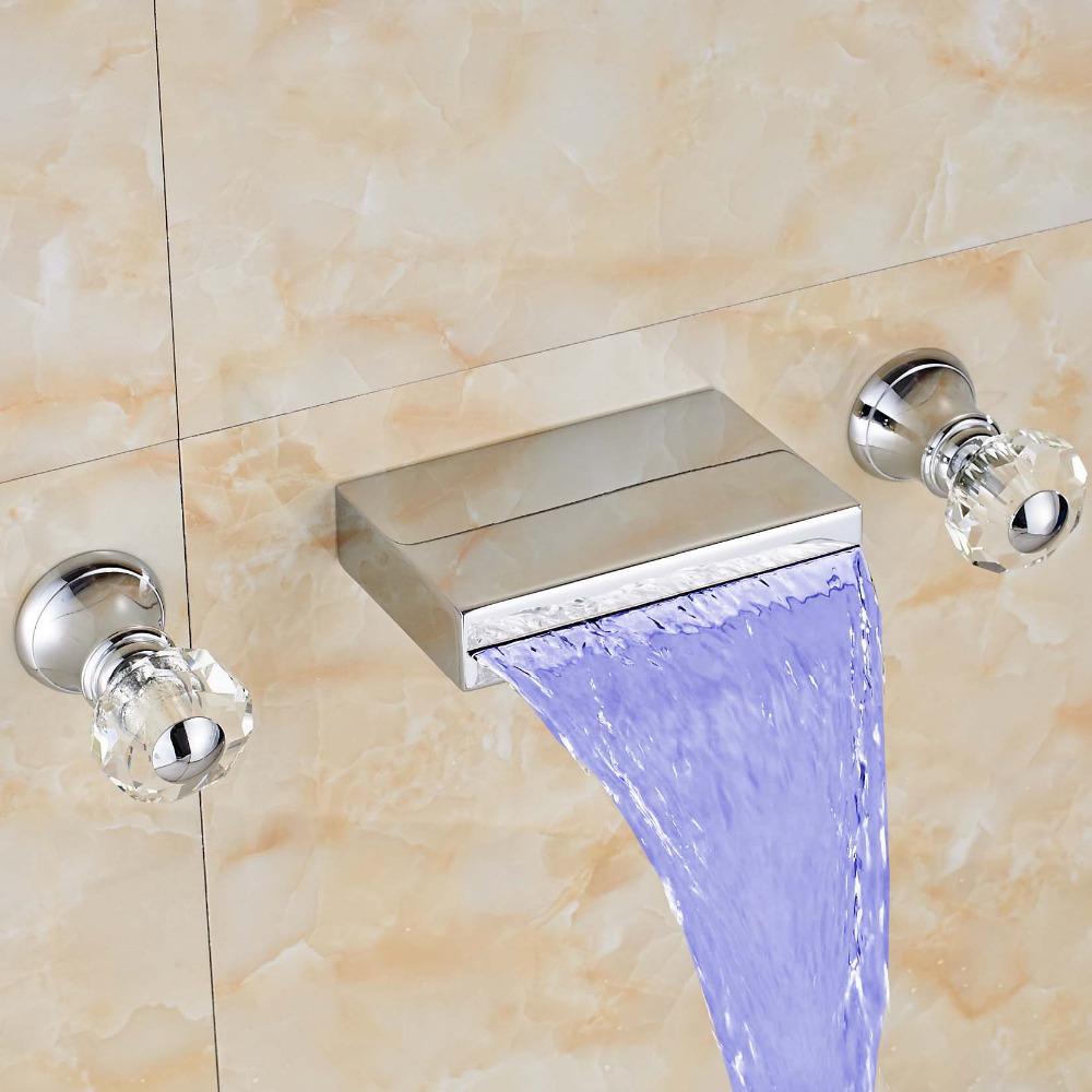 Regina Wall Mount LED Bathroom Sink Faucet Crystal Handle