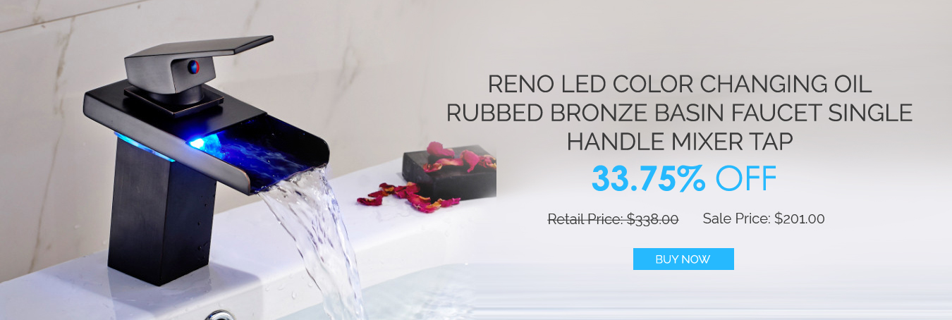 Reno LED Color Changing Oil Rubbed Bronze Basin Faucet Single Handle Mixer Tap