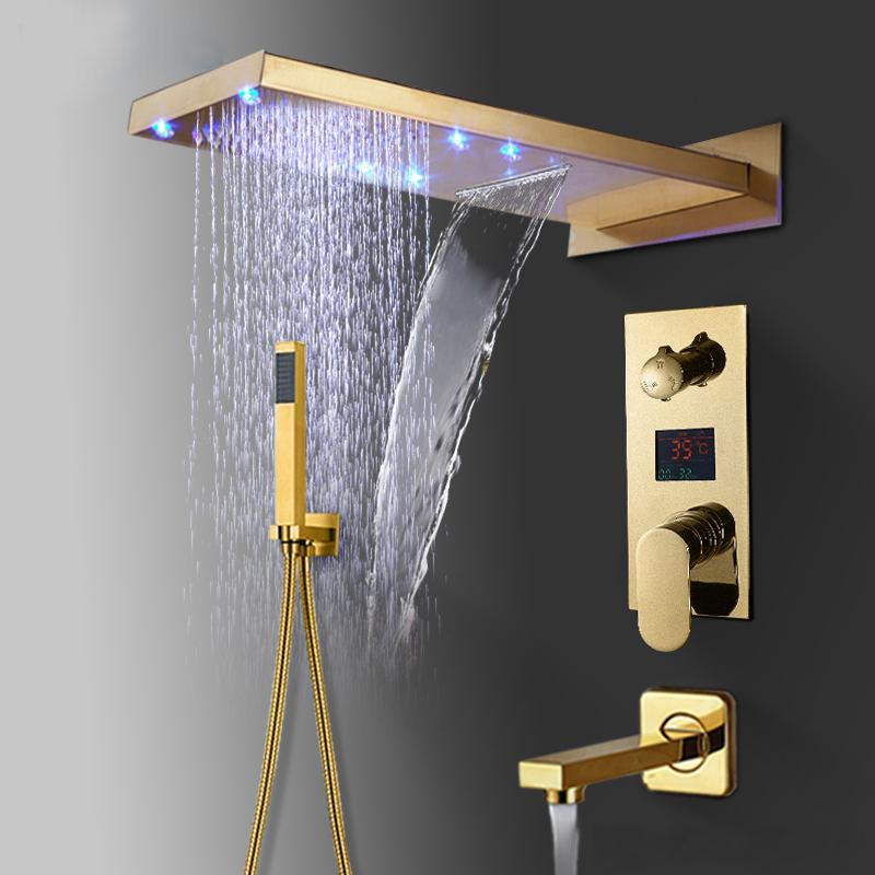 Riviera LED Rectangular Shower Head With Touch Panel Controller And Handheld Shower In Gold Finish