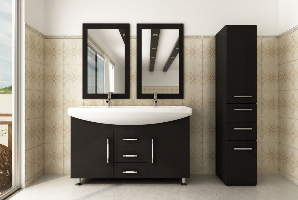 Roman Bathroom Vanity with Double Sink Set