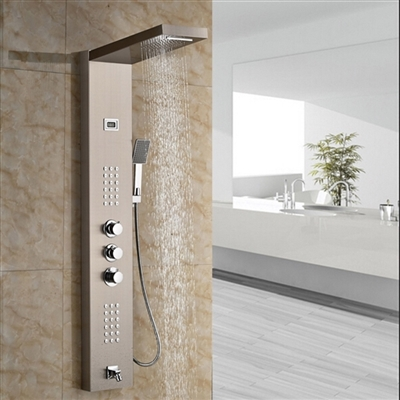 Roman Luxury Digital Display Brushed Nickel Finish Shower Panel with Handheld Shower Head