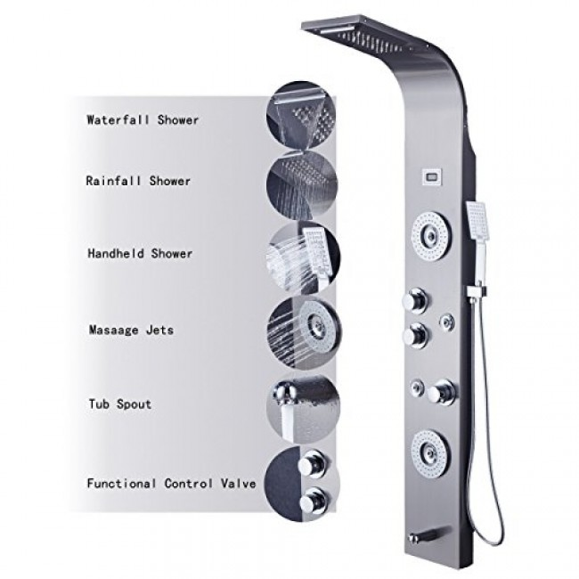 Genial Rome 5 Function Super Luxury Shower Panel Stainless Steel Body Massage LED  Rainfall Waterfall Shower Panel