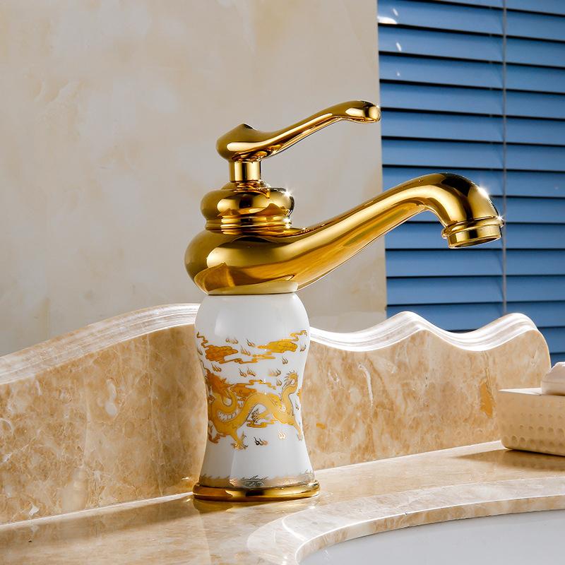 Roubaix Single Handle Gold Finish Bathroom Sink Faucet