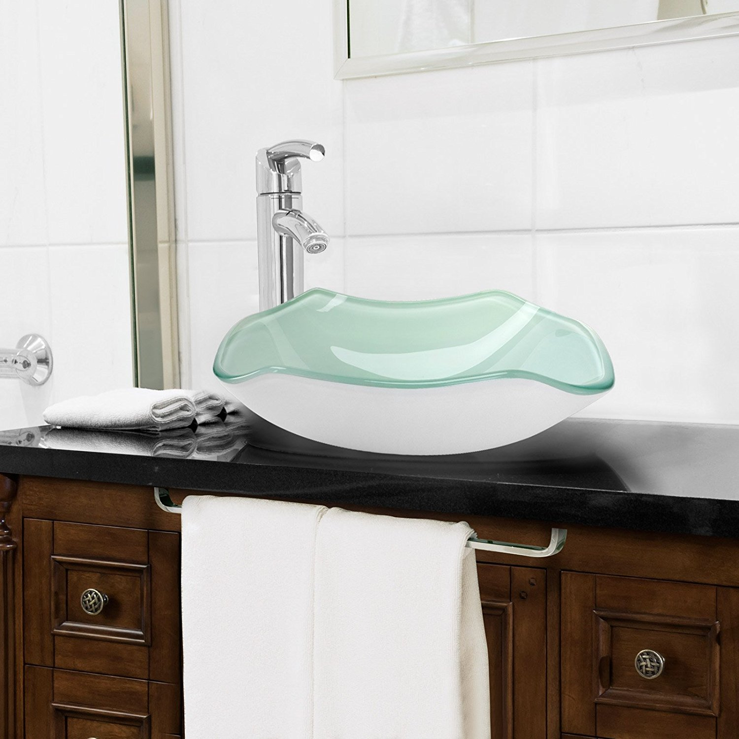 black countertops your placed faucet by tempered glass and in of bathroom furniture stainless connected dream wonderful steel washbowl look round