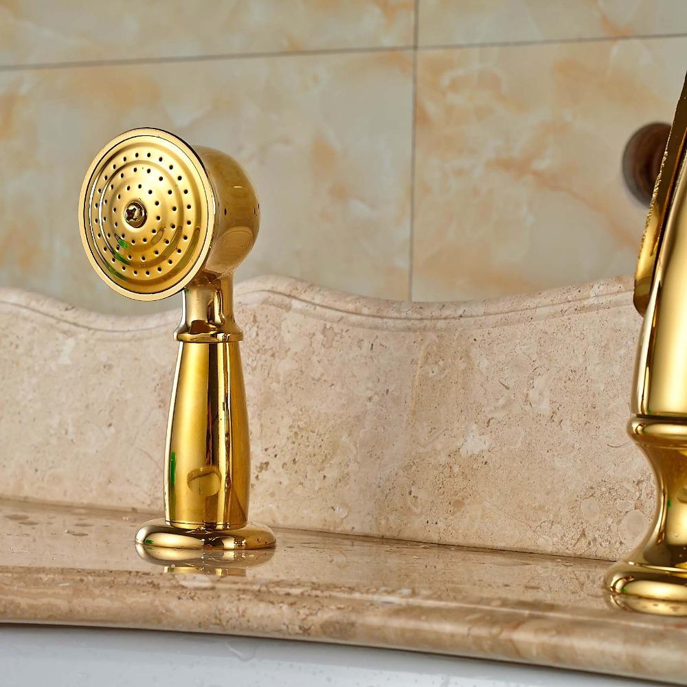 Gold Finish Swan Shaped Single Handle Bathtub Faucet Mixer
