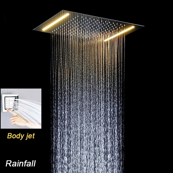 Venice Rectangular Thermostatic LED Shower Set with 4 Inch Jet Body Massage