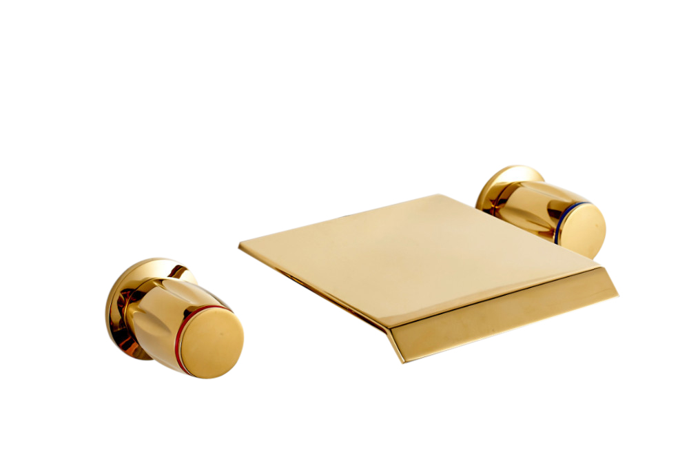 Wall Mount Waterfall Type Tub/Sink Solid Brass Gold Polish Faucet ...