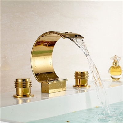 Wella Deck Mount Bath Sink Faucet Waterfall Gold Finish
