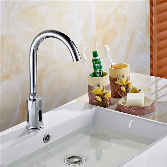 BathSelect Wella Goose Neck Chrome Automatic Commercial Sensor Faucet B510 - (also available in Oil Rubbed Bronze or Gold Tone)
